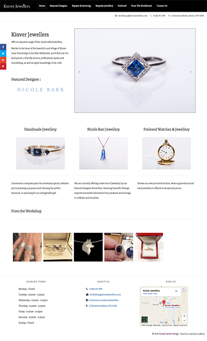 kinver jewellers website project
