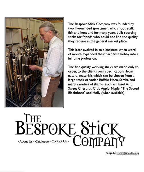 bespoke stick company website design