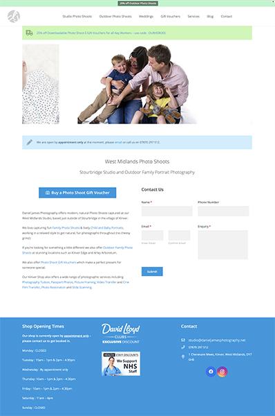daniel james photography website design