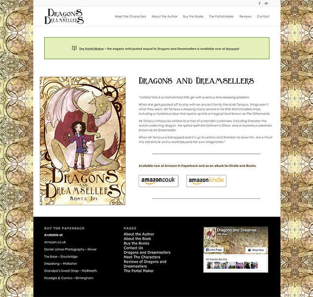dragons and dreamsellers website design