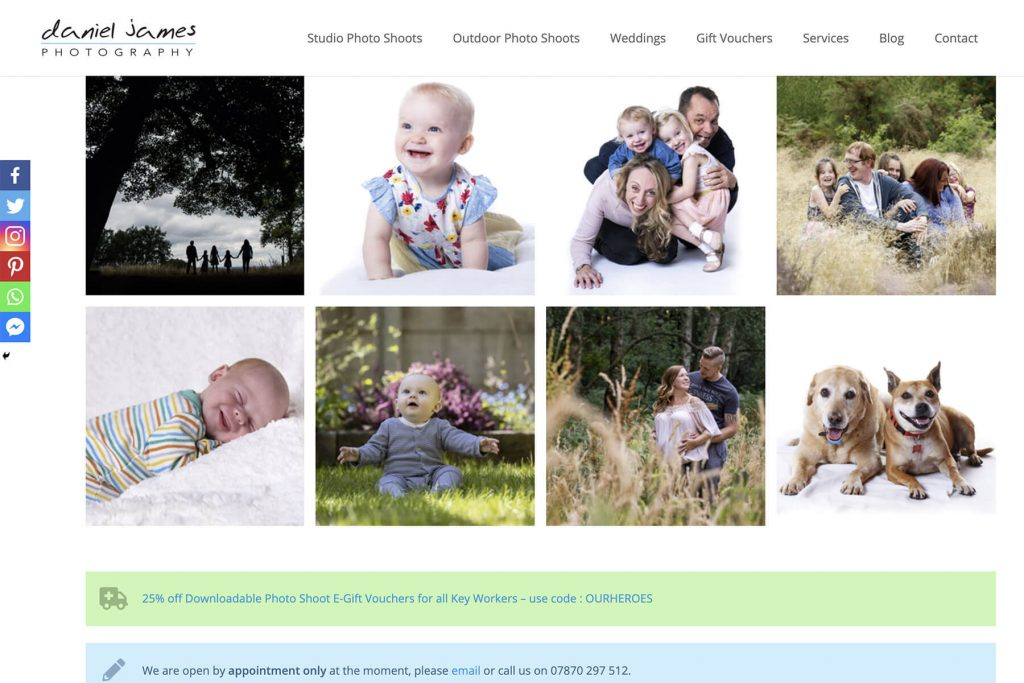 daniel james photography website design