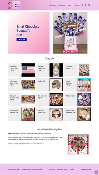 sweet treats by kate website design