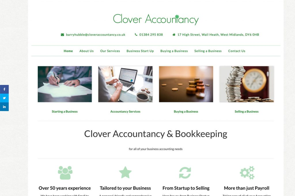 clover accountancy website design
