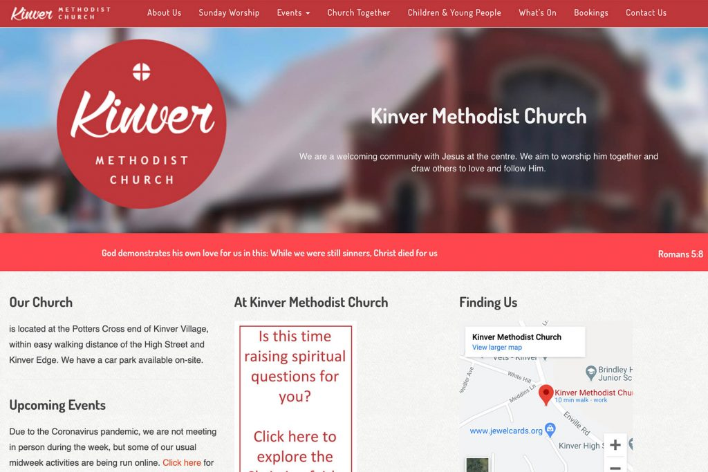 kinver methodist church website design